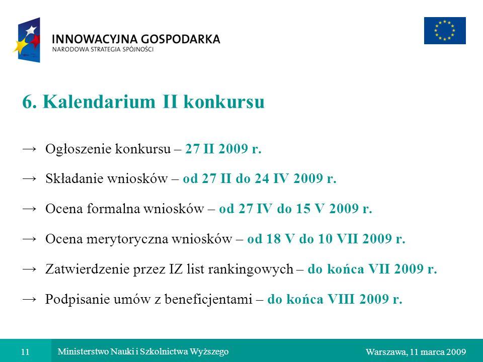 11Warszawa, 11 marca 2009 Ministerstwo Nauki i Szkolnictwa Wyższego 6. Kalendarium II konkursu Ogłoszenie konkursu – 27 II 2009 r. Składanie wniosków