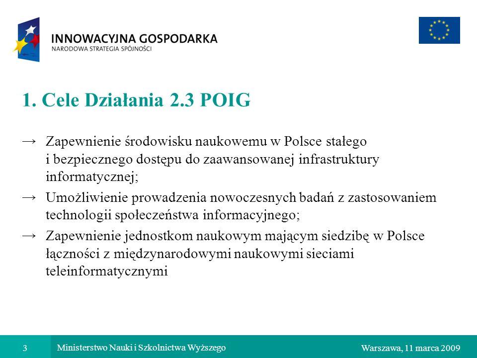 3Warszawa, 11 marca 2009 Ministerstwo Nauki i Szkolnictwa Wyższego 1. Cele Działania 2.3 POIG Zapewnienie środowisku naukowemu w Polsce stałego i bezp
