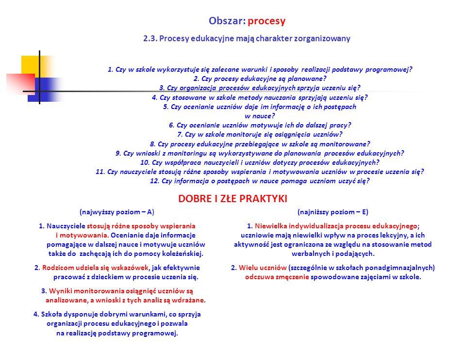 Obszar: procesy 2.3. Procesy edukacyjne mają charakter zorganizowany (najwyższy poziom – A) 1. Nauczyciele stosują różne sposoby wspierania i motywowa