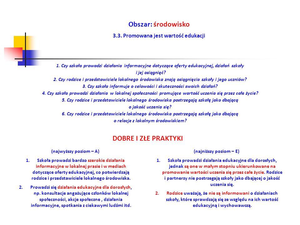 Obszar: środowisko 3.3. Promowana jest wartość edukacji (najwyższy poziom – A) 1.Szkoła prowadzi bardzo szerokie działania informacyjne w lokalnej pra