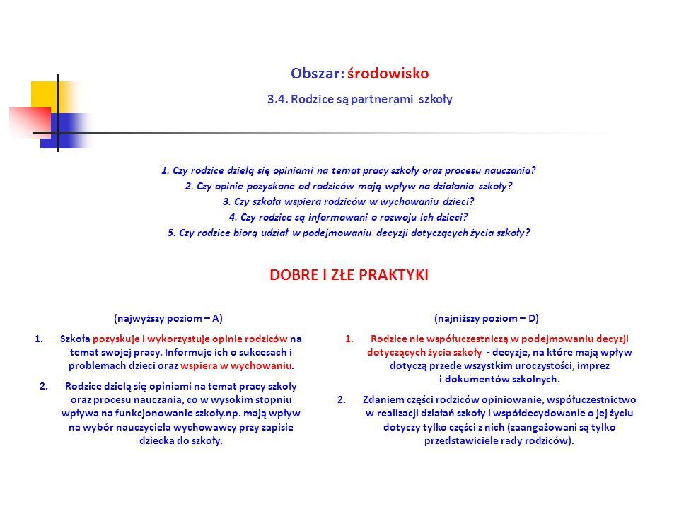Obszar: środowisko 3.4. Rodzice są partnerami szkoły (najwyższy poziom – A) 1.Szkoła pozyskuje i wykorzystuje opinie rodziców na temat swojej pracy. I