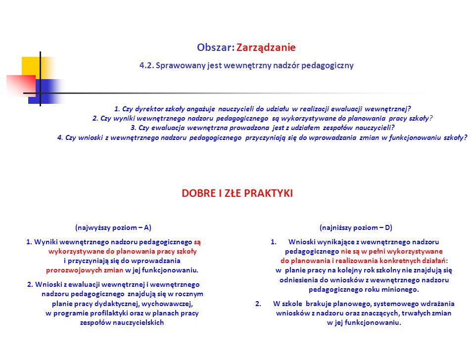 Obszar: Zarządzanie 4.2. Sprawowany jest wewnętrzny nadzór pedagogiczny (najwyższy poziom – A) 1. Wyniki wewnętrznego nadzoru pedagogicznego są wykorz