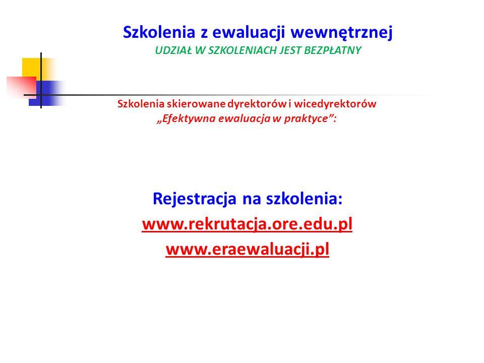Szkolenia skierowane dyrektorów i wicedyrektorów Efektywna ewaluacja w praktyce: Rejestracja na szkolenia: www.rekrutacja.ore.edu.pl www.eraewaluacji.
