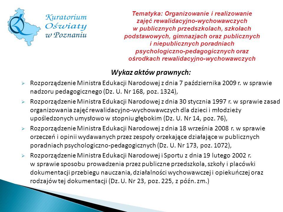 Wykaz aktów prawnych: Rozporządzenie Ministra Edukacji Narodowej z dnia 7 października 2009 r. w sprawie nadzoru pedagogicznego (Dz. U. Nr 168, poz. 1