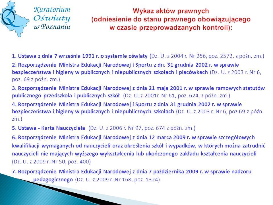 Wykaz aktów prawnych (odniesienie do stanu prawnego obowiązującego w czasie przeprowadzanych kontroli): 1. Ustawa z dnia 7 września 1991 r. o systemie