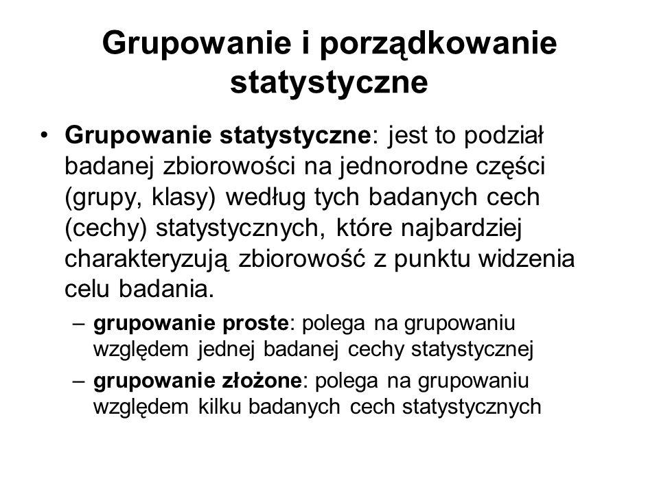 Grupowanie i porządkowanie statystyczne Grupowanie statystyczne: jest to podział badanej zbiorowości na jednorodne części (grupy, klasy) według tych b