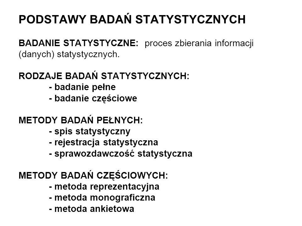 PODSTAWY BADAŃ STATYSTYCZNYCH BADANIE STATYSTYCZNE: proces zbierania informacji (danych) statystycznych. RODZAJE BADAŃ STATYSTYCZNYCH: - badanie pełne