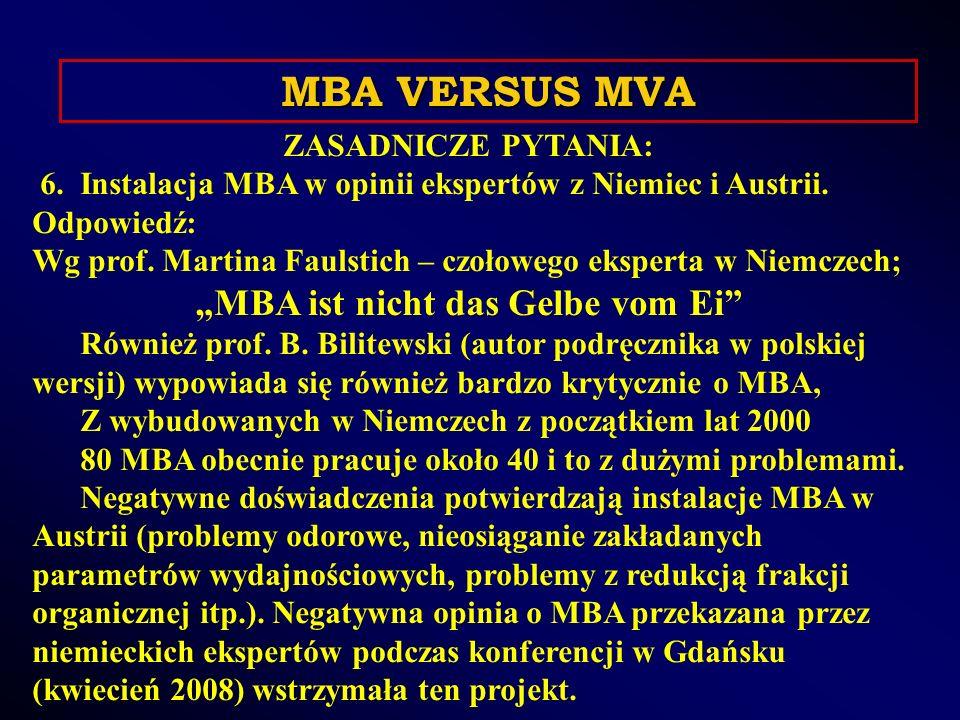 ZASADNICZE PYTANIA: 6. Instalacja MBA w opinii ekspertów z Niemiec i Austrii.