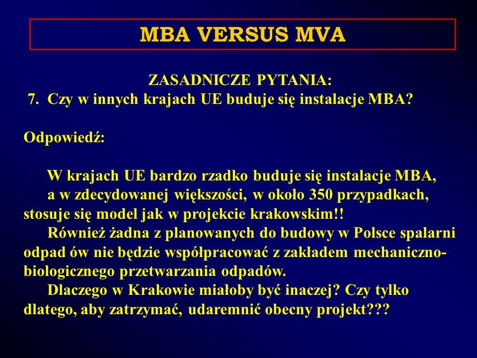 ZASADNICZE PYTANIA: 7. Czy w innych krajach UE buduje się instalacje MBA.