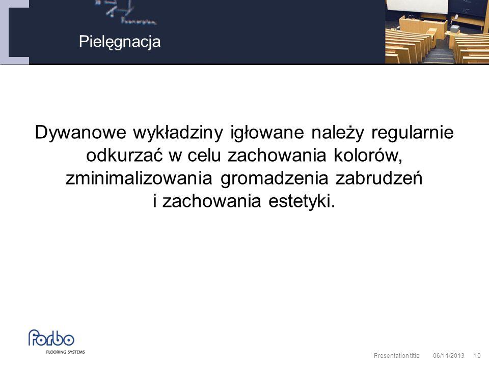 06/11/2013 Presentation title10 Pielęgnacja Dywanowe wykładziny igłowane należy regularnie odkurzać w celu zachowania kolorów, zminimalizowania gromadzenia zabrudzeń i zachowania estetyki.