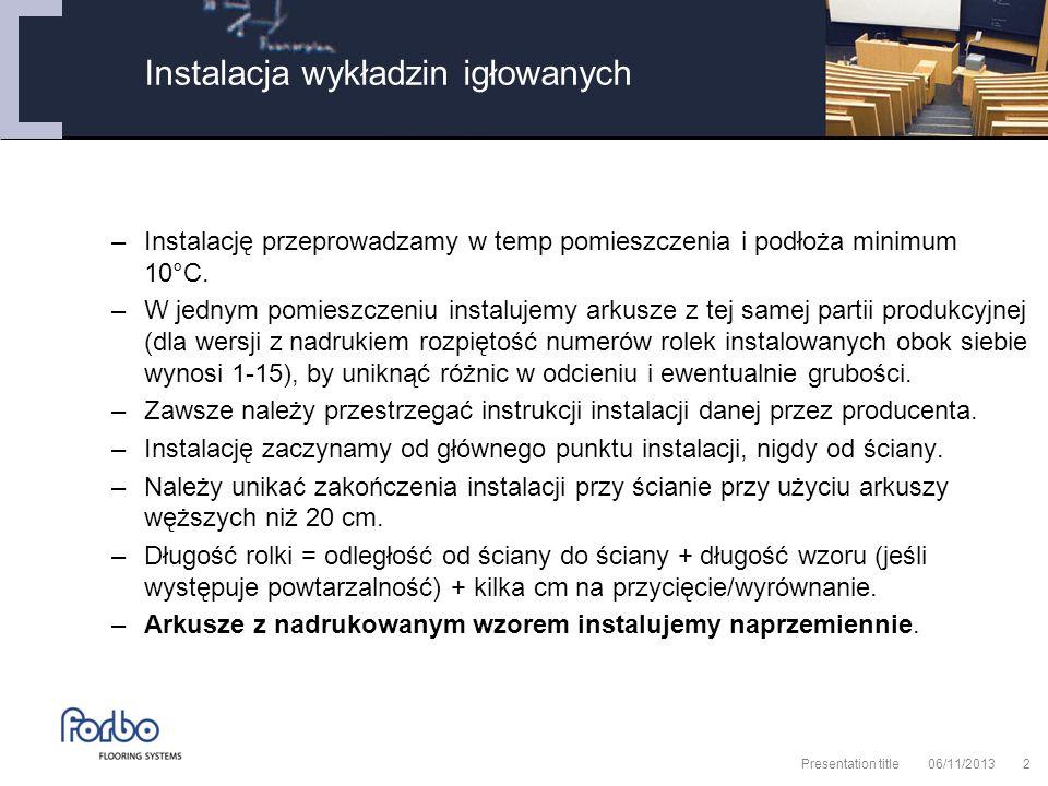 06/11/2013 Presentation title2 –Instalację przeprowadzamy w temp pomieszczenia i podłoża minimum 10°C.