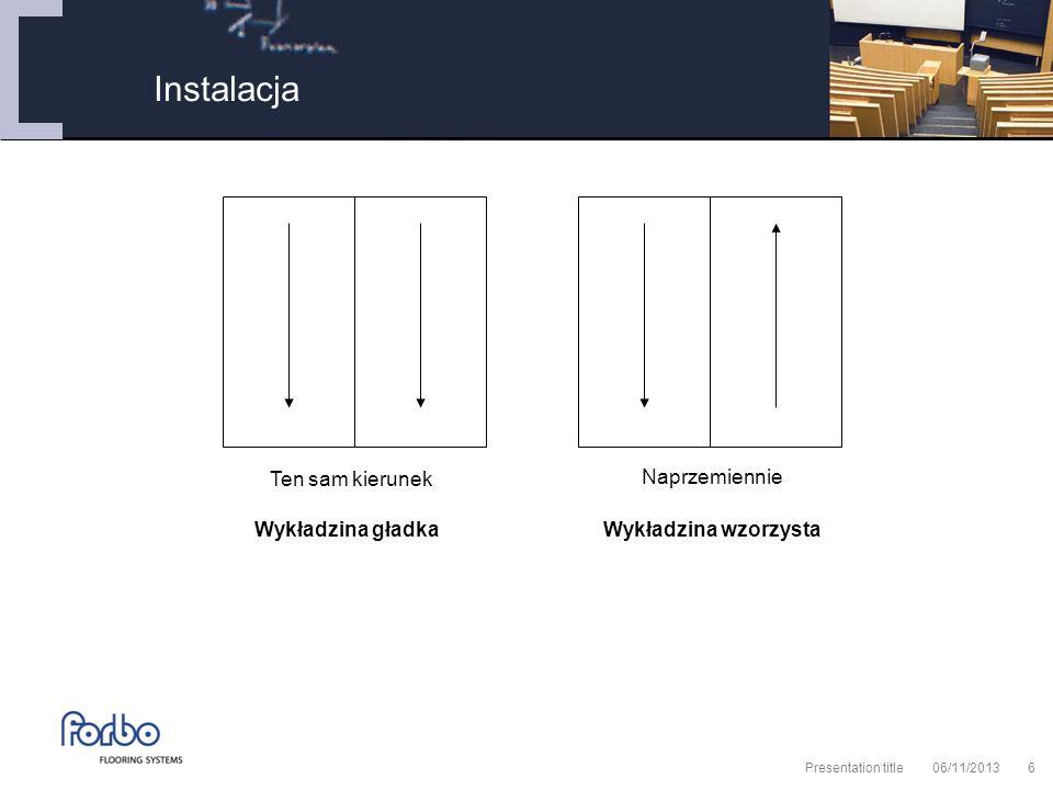 06/11/2013 Presentation title6 Instalacja Ten sam kierunek Naprzemiennie Wykładzina gładkaWykładzina wzorzysta
