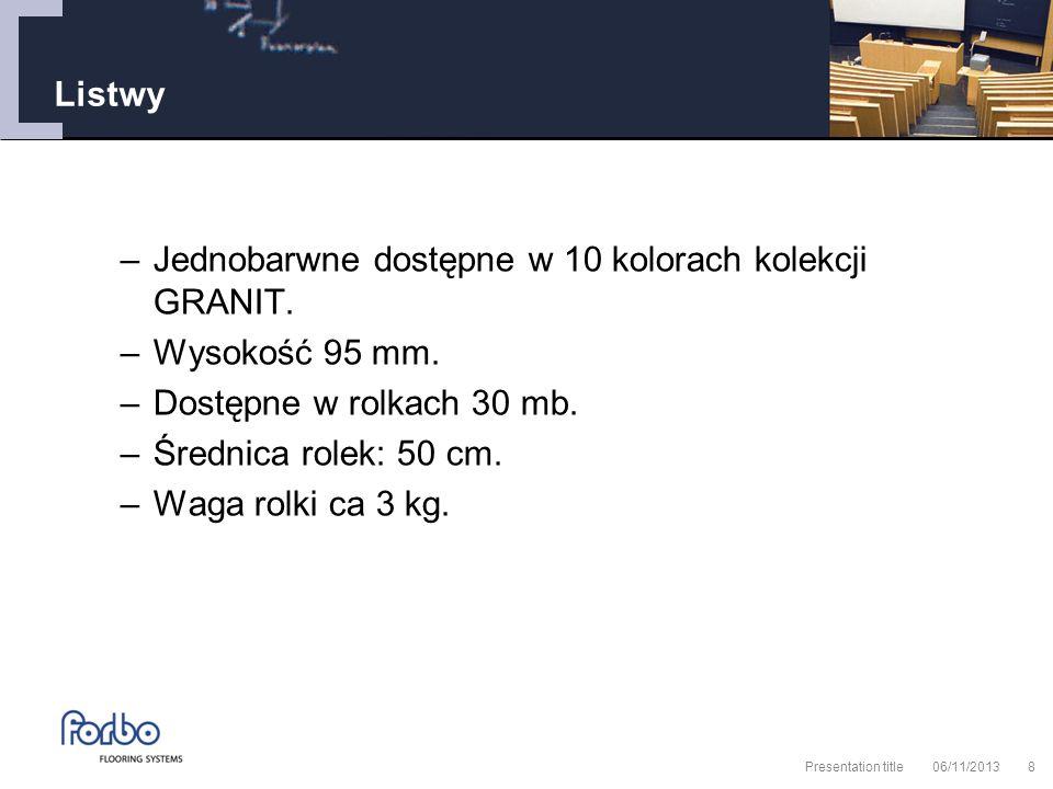 06/11/2013 Presentation title8 Listwy –Jednobarwne dostępne w 10 kolorach kolekcji GRANIT.