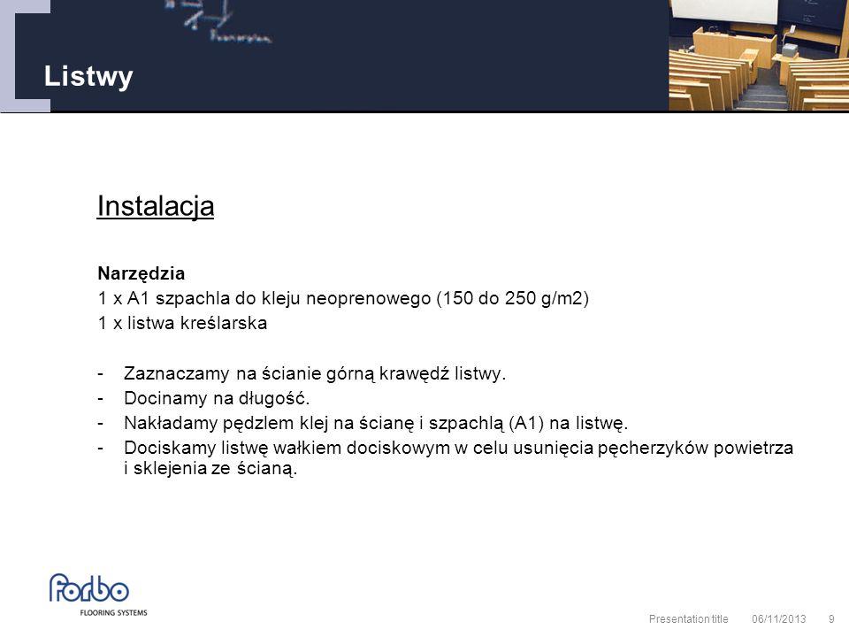 06/11/2013 Presentation title9 Listwy Instalacja Narzędzia 1 x A1 szpachla do kleju neoprenowego (150 do 250 g/m2) 1 x listwa kreślarska -Zaznaczamy na ścianie górną krawędź listwy.