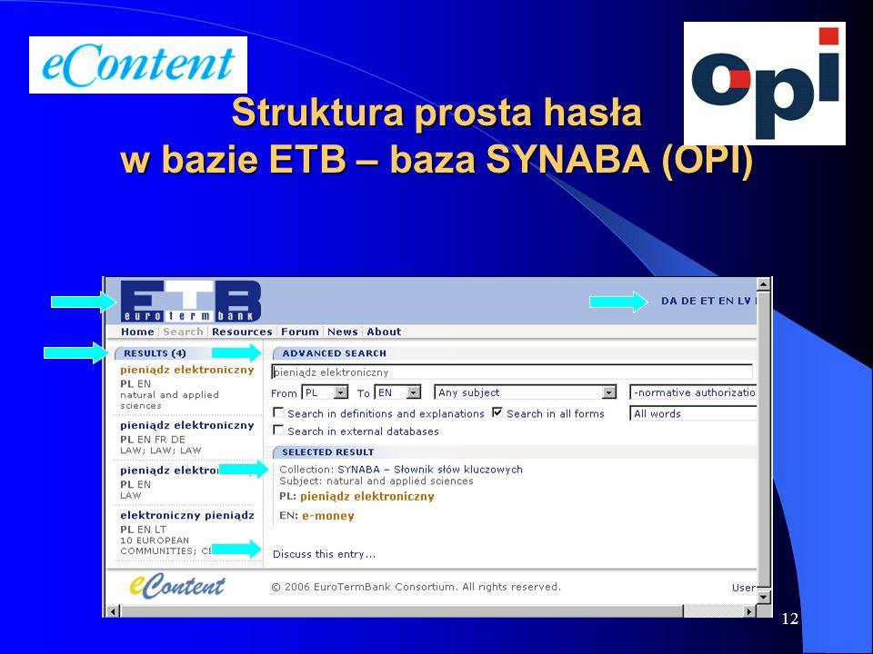 12 Struktura prosta hasła w bazie ETB – baza SYNABA (OPI)
