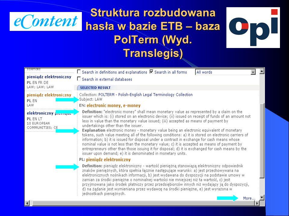 13 Struktura rozbudowana hasła w bazie ETB – baza PolTerm (Wyd. Translegis)