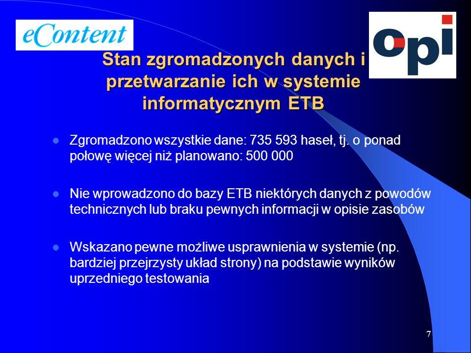 7 Zgromadzono wszystkie dane: 735 593 haseł, tj. o ponad połowę więcej niż planowano: 500 000 Nie wprowadzono do bazy ETB niektórych danych z powodów