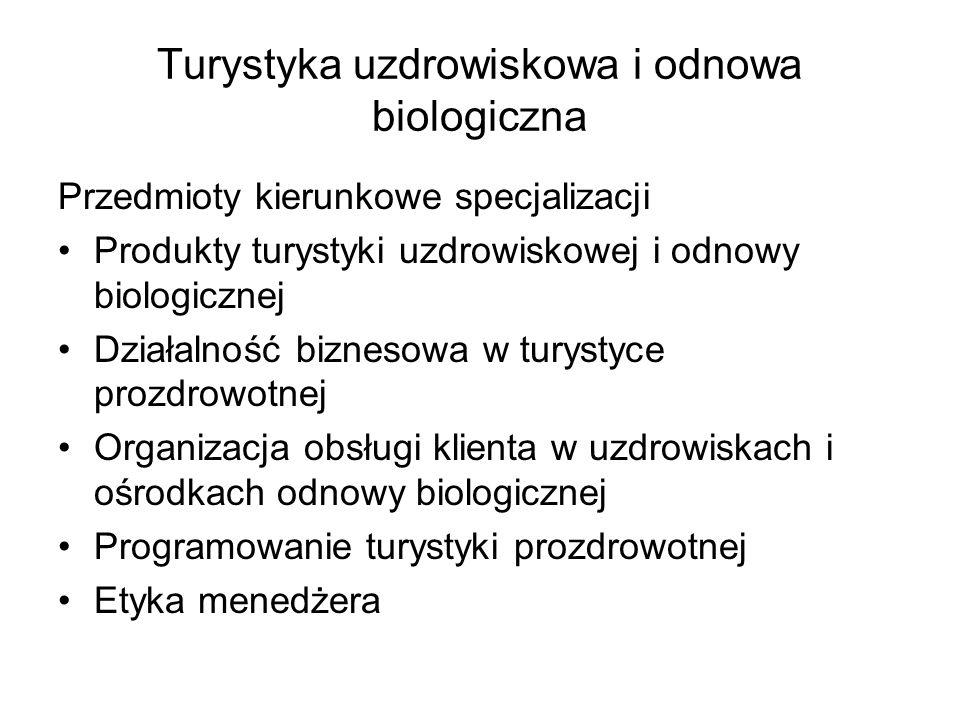 Turystyka uzdrowiskowa i odnowa biologiczna Przedmioty kierunkowe specjalizacji Produkty turystyki uzdrowiskowej i odnowy biologicznej Działalność biz