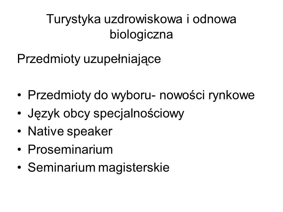 Turystyka uzdrowiskowa i odnowa biologiczna Przedmioty uzupełniające Przedmioty do wyboru- nowości rynkowe Język obcy specjalnościowy Native speaker P