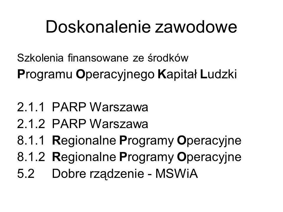 Doskonalenie zawodowe Szkolenia finansowane ze środków Programu Operacyjnego Kapitał Ludzki 2.1.1 PARP Warszawa 2.1.2 PARP Warszawa 8.1.1 Regionalne P