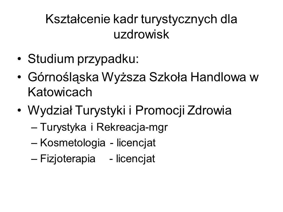 Kształcenie kadr turystycznych dla uzdrowisk Studium przypadku: Górnośląska Wyższa Szkoła Handlowa w Katowicach Wydział Turystyki i Promocji Zdrowia –
