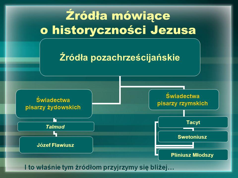 Źródła mówiące o historyczności Jezusa Źródła pozachrześcijańskie Świadectwa pisarzy żydowskich TalmudJózef Flawiusz Świadectwa pisarzy rzymskich Swet
