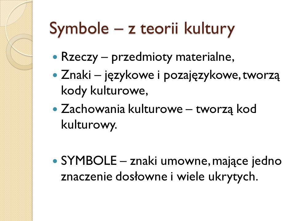 Symbole – z teorii kultury Rzeczy – przedmioty materialne, Znaki – językowe i pozajęzykowe, tworzą kody kulturowe, Zachowania kulturowe – tworzą kod k