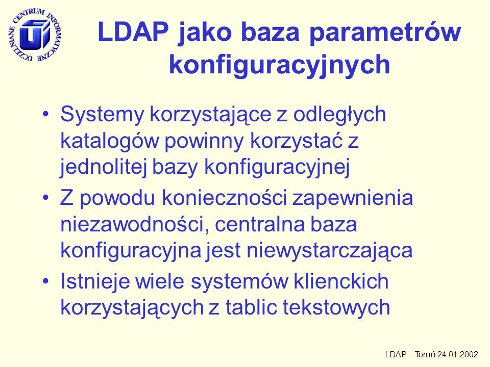 LDAP – Toruń 24.01.2002 Korzystanie z centralnej bazy LDAP przez klientów Z39.50 Automat produkujący tablice konfiguracyjne do przykładowych klientów Lokalna replika LDAP dla klientów którzy potrafią korzystać wprost z Z39.50