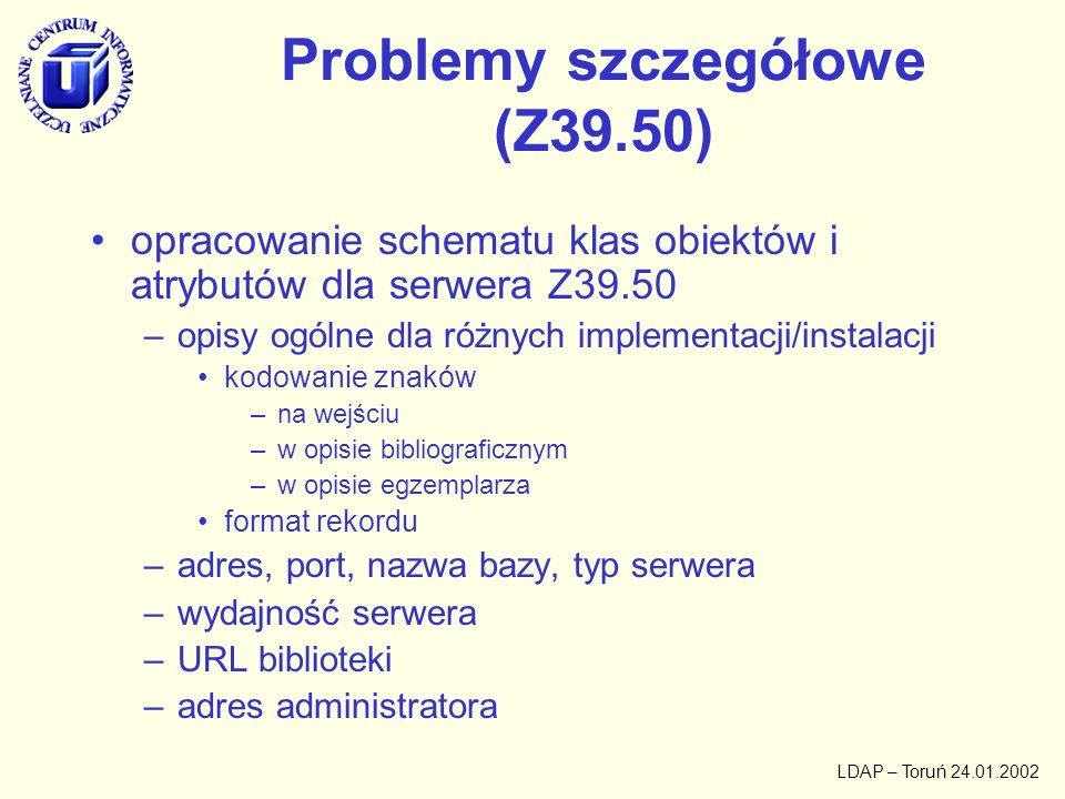 LDAP – Toruń 24.01.2002 Problemy szczegółowe (profil użytkownika) opracowanie klasy i schematu atrybutów użytkownika –hasło –biblioteki widoczne wybrane –czas oczekiwania –format wyniku –format rekordu binarnego
