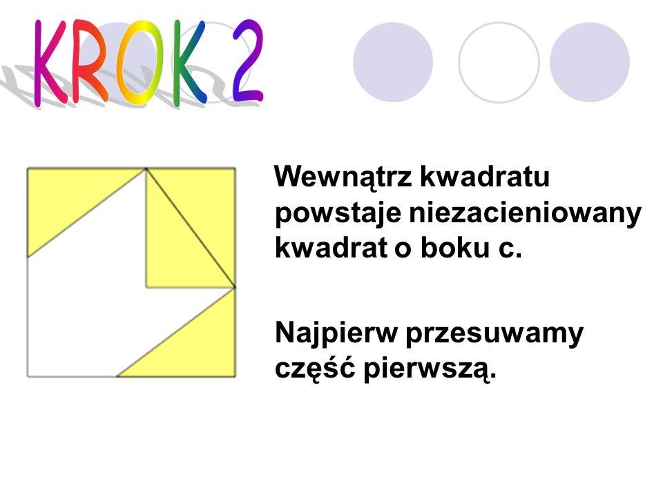 Wewnątrz kwadratu powstaje niezacieniowany kwadrat o boku c. Najpierw przesuwamy część pierwszą.