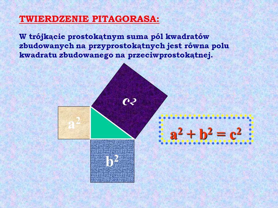 c2c2 b2b2 a2a2 W trójkącie prostokątnym suma pól kwadratów zbudowanych na przyprostokątnych jest równa polu kwadratu zbudowanego na przeciwprostokątne