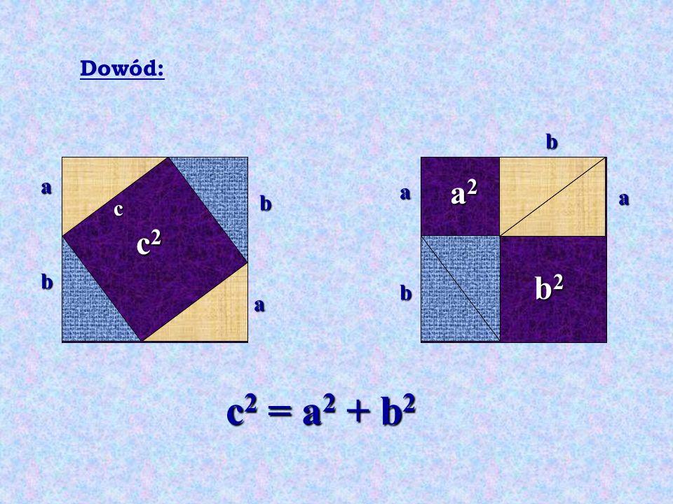 c2c2c2c2 a2a2a2a2 b2b2b2b2 c 2 = a 2 + b 2 a a c b b b b a a Dowód: