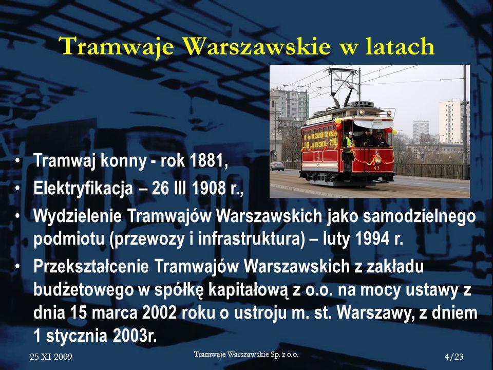25 XI 2009 Tramwaje Warszawskie Sp. z o.o. 4/23 Tramwaje Warszawskie w latach Tramwaj konny - rok 1881, Elektryfikacja – 26 III 1908 r., Wydzielenie T