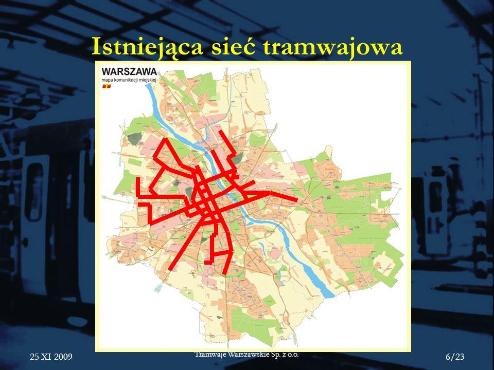 25 XI 2009 Tramwaje Warszawskie Sp.z o.o. 17/23 3 lata prac.