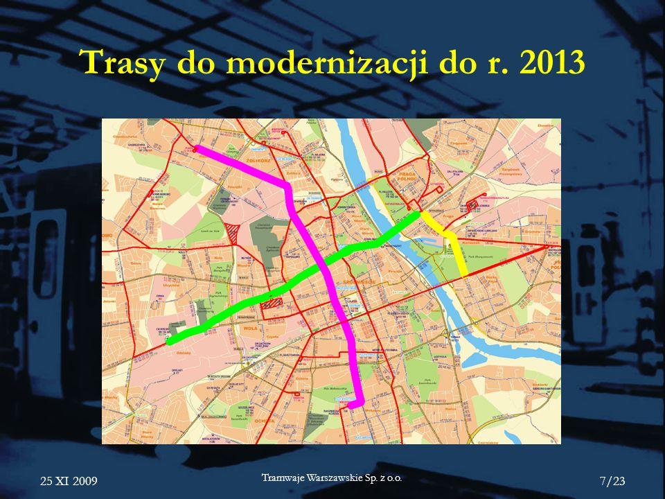 25 XI 2009 Tramwaje Warszawskie Sp. z o.o. 7/23 Trasy do modernizacji do r. 2013