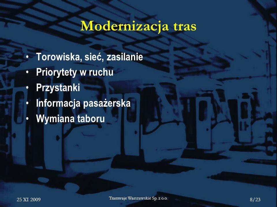 25 XI 2009 Tramwaje Warszawskie Sp. z o.o. 8/23 Modernizacja tras Torowiska, sieć, zasilanie Priorytety w ruchu Przystanki Informacja pasażerska Wymia