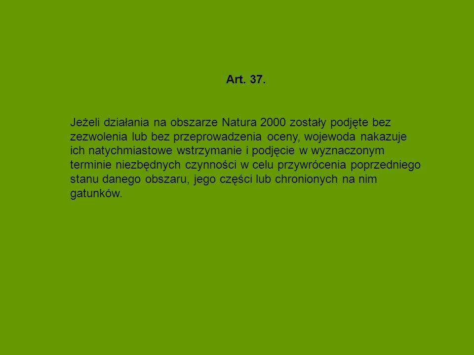 Art. 37. Jeżeli działania na obszarze Natura 2000 zostały podjęte bez zezwolenia lub bez przeprowadzenia oceny, wojewoda nakazuje ich natychmiastowe w