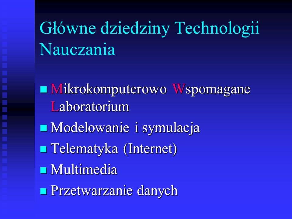Główne dziedziny Technologii Nauczania n Mikrokomputerowo Wspomagane Laboratorium n Modelowanie i symulacja n Telematyka (Internet) n Multimedia n Przetwarzanie danych