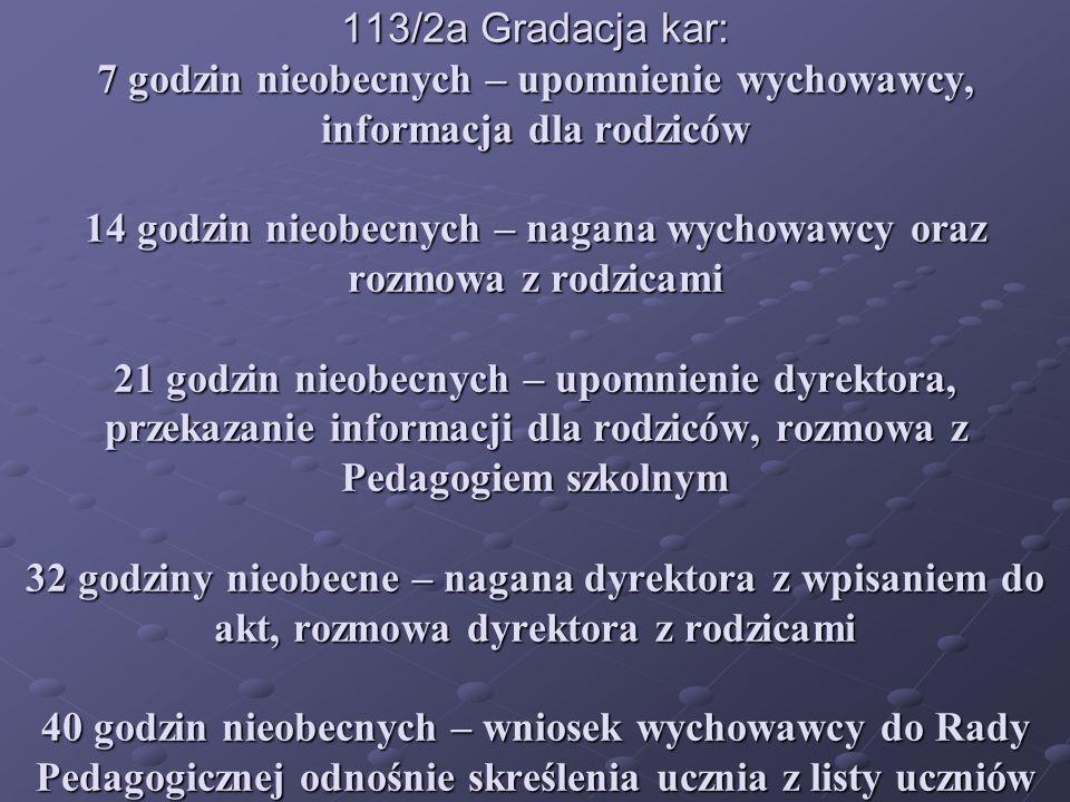 113/2a Gradacja kar: 7 godzin nieobecnych – upomnienie wychowawcy, informacja dla rodziców 14 godzin nieobecnych – nagana wychowawcy oraz rozmowa z ro