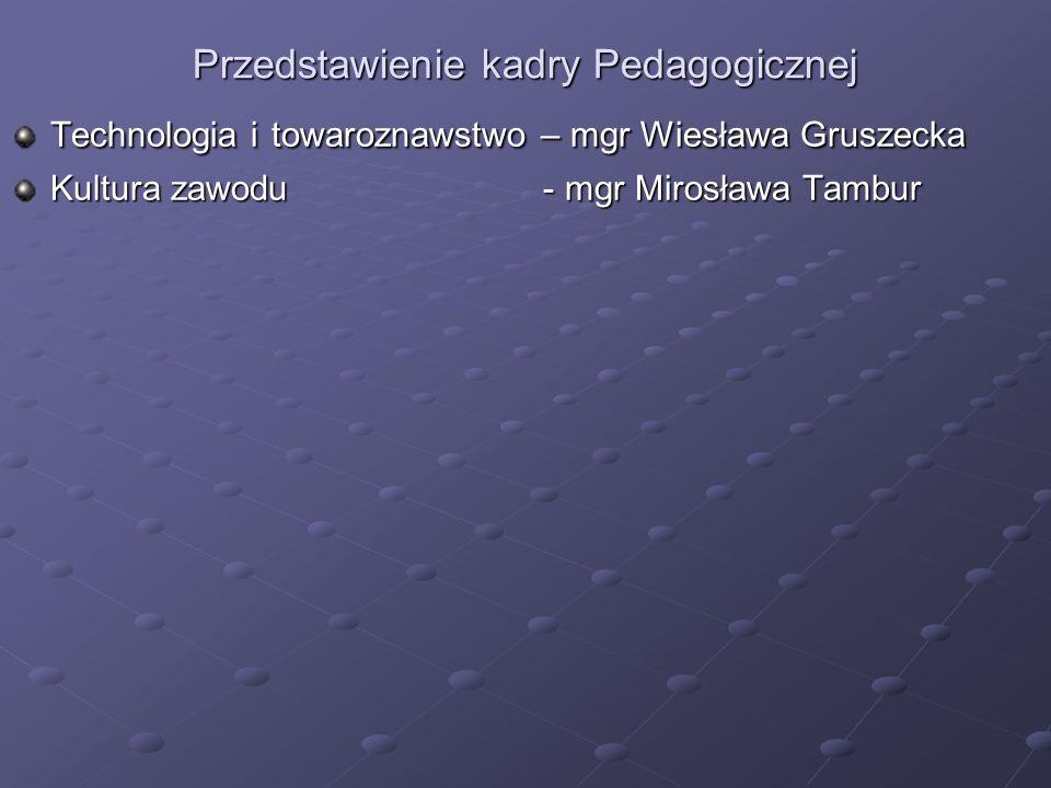 Przedstawienie kadry Pedagogicznej Technologia i towaroznawstwo – mgr Wiesława Gruszecka Kultura zawodu - mgr Mirosława Tambur