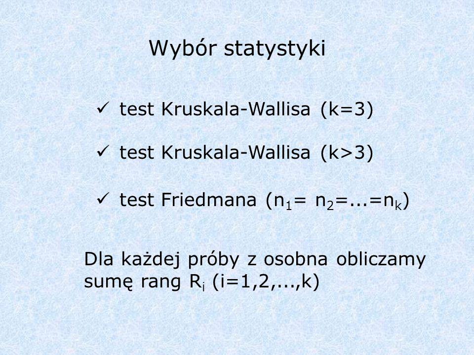 Wybór statystyki test Kruskala-Wallisa (k=3) test Kruskala-Wallisa (k>3) test Friedmana (n 1 = n 2 =...=n k ) Dla każdej próby z osobna obliczamy sumę rang R i (i=1,2,...,k)
