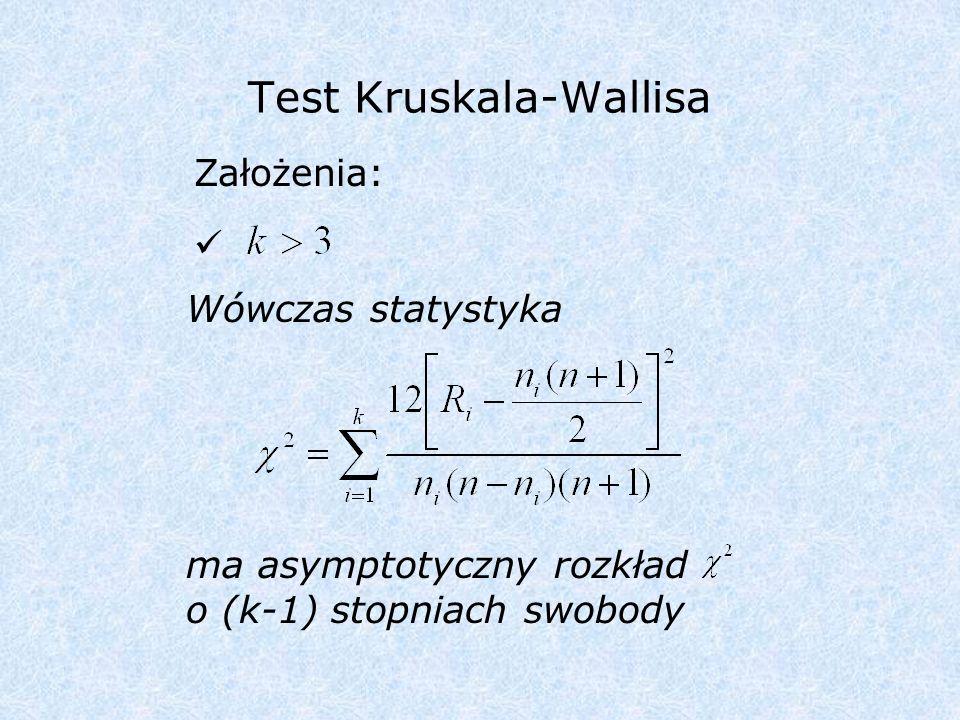 Test Friedmana Założenia: Wówczas statystyka ma asymptotyczny rozkład o (k-1) stopniach swobody
