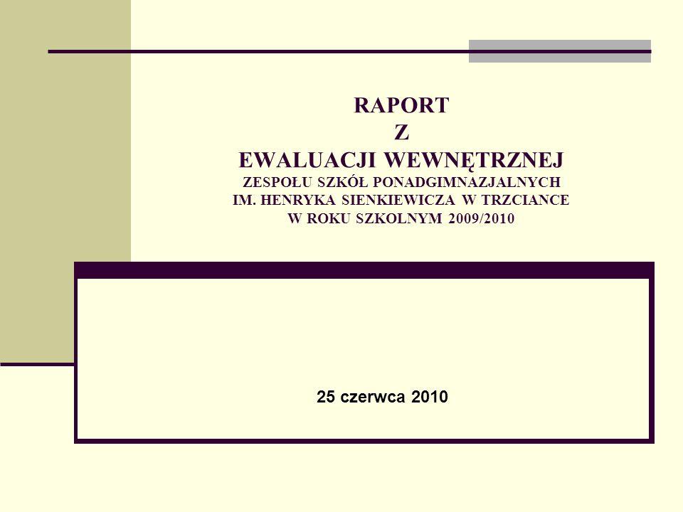 RAPORT Z EWALUACJI WEWNĘTRZNEJ ZESPOŁU SZKÓŁ PONADGIMNAZJALNYCH IM. HENRYKA SIENKIEWICZA W TRZCIANCE W ROKU SZKOLNYM 2009/2010 25 czerwca 2010