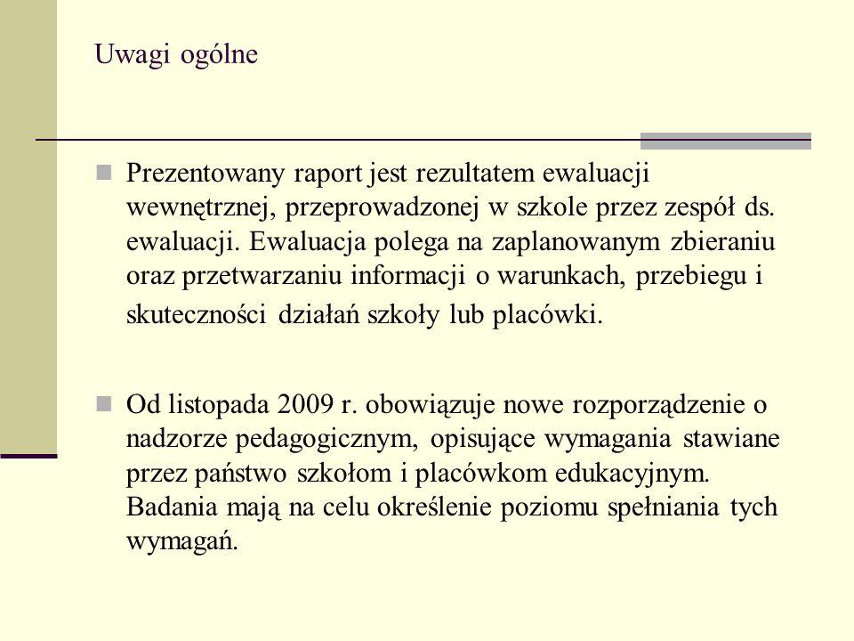 Uwagi ogólne Prezentowany raport jest rezultatem ewaluacji wewnętrznej, przeprowadzonej w szkole przez zespół ds. ewaluacji. Ewaluacja polega na zapla