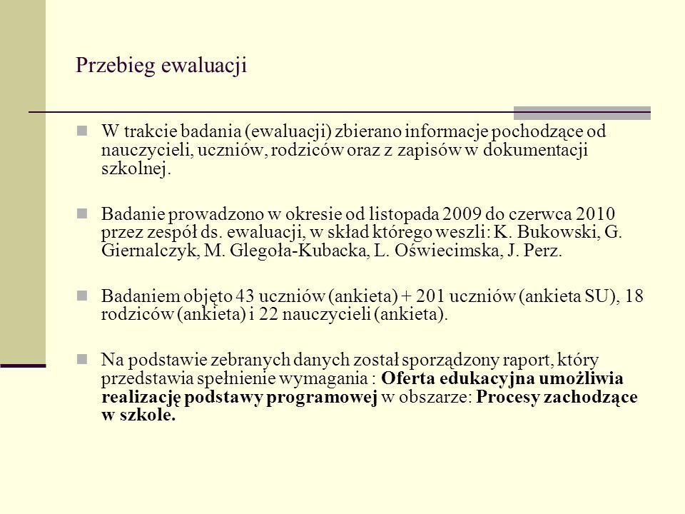 Przebieg ewaluacji W trakcie badania (ewaluacji) zbierano informacje pochodzące od nauczycieli, uczniów, rodziców oraz z zapisów w dokumentacji szkoln