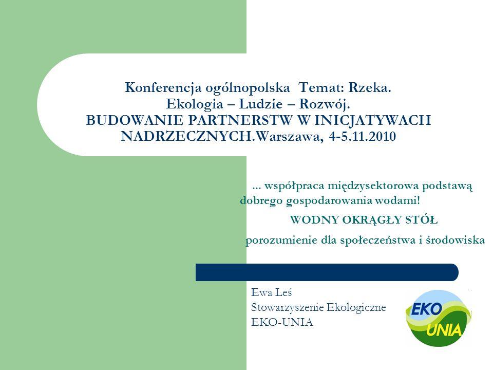 Konferencja ogólnopolska Temat: Rzeka. Ekologia – Ludzie – Rozwój. BUDOWANIE PARTNERSTW W INICJATYWACH NADRZECZNYCH.Warszawa, 4-5.11.2010... współprac