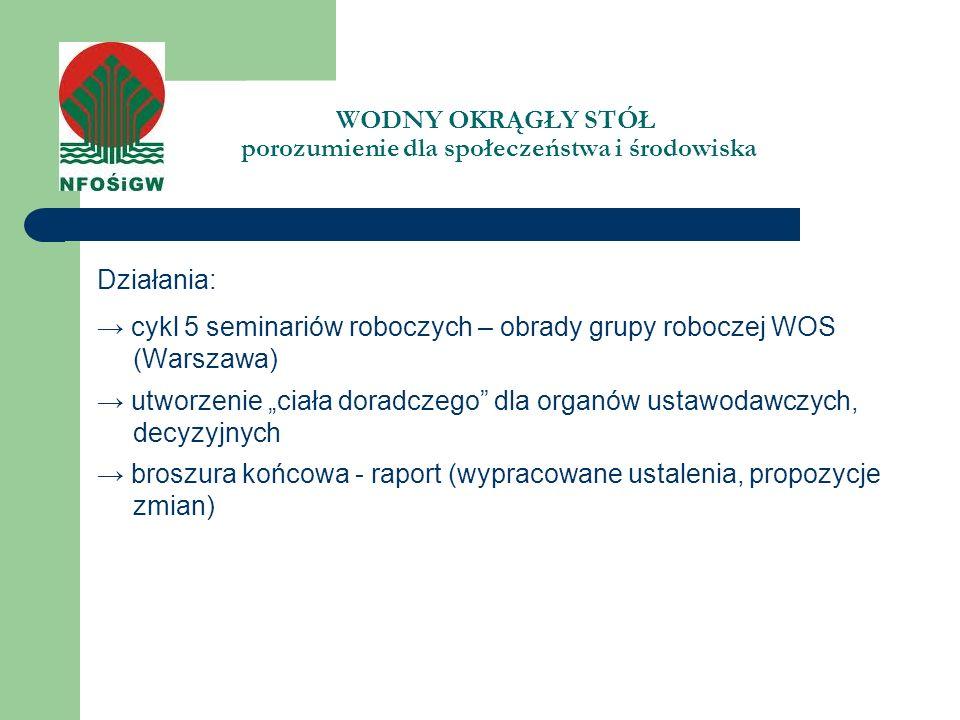 WODNY OKRĄGŁY STÓŁ porozumienie dla społeczeństwa i środowiska Działania: cykl 5 seminariów roboczych – obrady grupy roboczej WOS (Warszawa) utworzeni