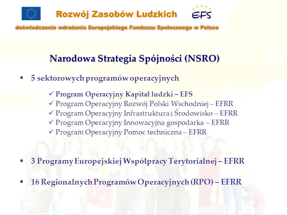 5 sektorowych programów operacyjnych Program Operacyjny Kapitał ludzki – EFS Program Operacyjny Rozwój Polski Wschodniej – EFRR Program Operacyjny Infrastruktura i Środowisko – EFRR Program Operacyjny Innowacyjna gospodarka – EFRR Program Operacyjny Pomoc techniczna – EFRR 3 Programy Europejskiej Współpracy Terytorialnej – EFRR 16 Regionalnych Programów Operacyjnych (RPO) – EFRR Narodowa Strategia Spójności (NSRO)