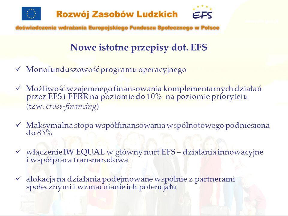 Nowe istotne przepisy dot. EFS Monofunduszowość programu operacyjnego Możliwość wzajemnego finansowania komplementarnych działań przez EFS i EFRR na p
