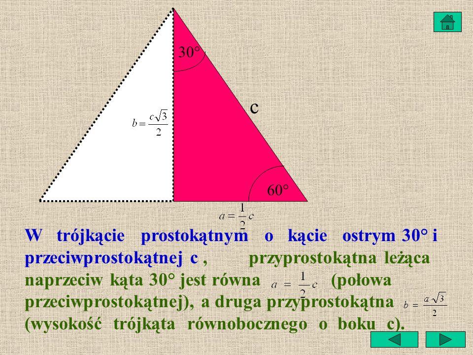 Zadanie Oblicz wysokość w trójkącie równobocznym o boku 6 cm. a h Odpowiedź: